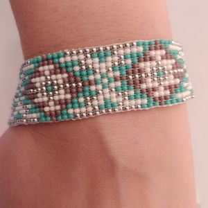 Loom Beaded Teal, White, Purple and Silver Bracele
